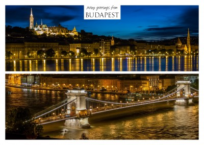 two photos of budapest