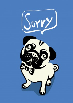 cute dog illustration saying sorry speech bubble postcard