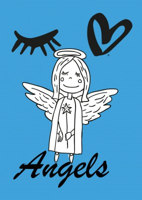 illustration xmas angel on blue ground