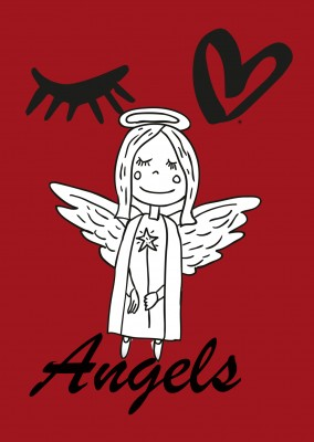 illustration xmas angel on red ground