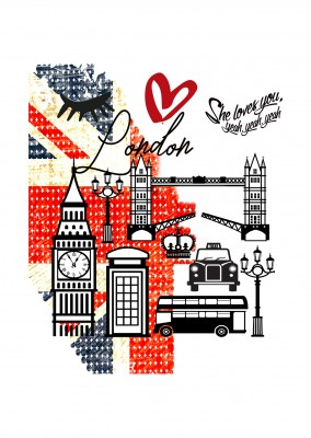 Illustration Eye-Love London Wallpaper