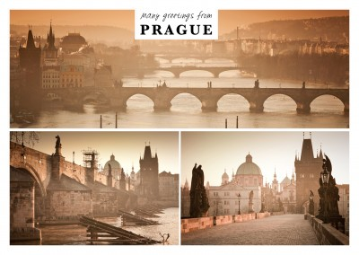 Photocollage of Prague and it's bridges at dawn
