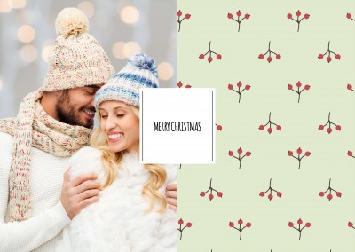 Personalizable christmas card with holly berrys
