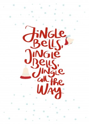 Jingle bells lettering with snow and bells