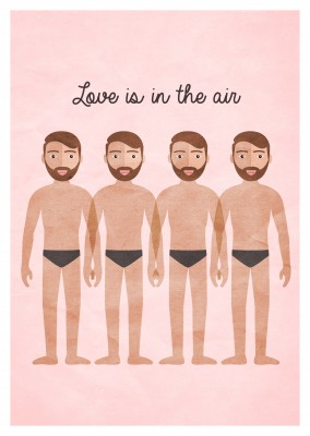 Greeting card with four men only wearing pants