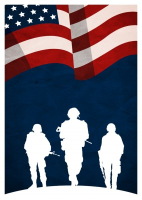 Greeting card with with soldiers under the American flag