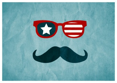 Greeting card with sunglasses and a moustache