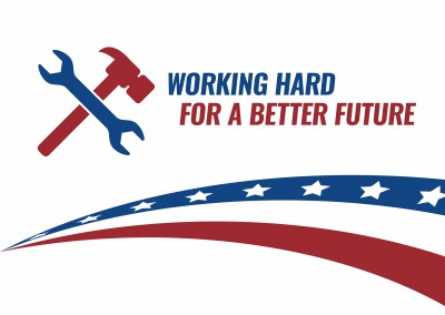 Greeting card with tools in blue and red saying working hard for a better future
