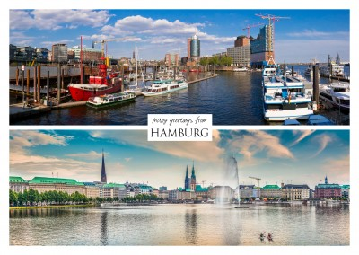 collage with two photos from hamburg port and hamburg
