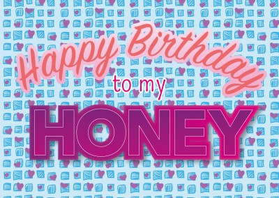 happy birthday to my honey postcard greeting card