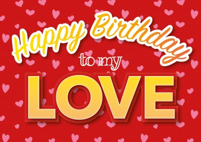 happy birthday to my love postcard template