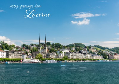 Greeting card with a photo of the cityscape from Lucerne
