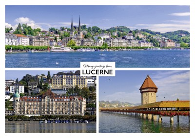 Greeting card from Lucerne in Switzerland with photos of different city symbols