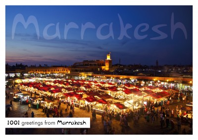 Greeting card from Marrakesh photo of market on the UNESCO suqare by night