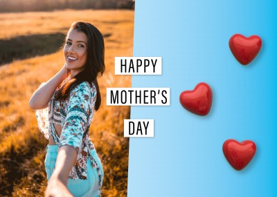 Happy Mother's Day: 3 red hearts made of cotton with polkadots on light blue background