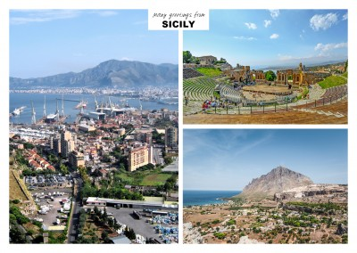 Three photos of sicily – ocean, beach and port