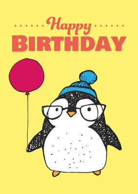 birthday postcard with cute penguin with a balloon and happy birthday lettering