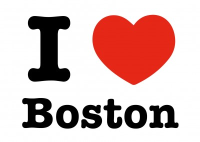 i love boston postcard heart