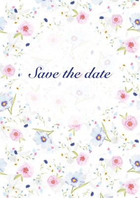 Save the date invitation card with flowers
