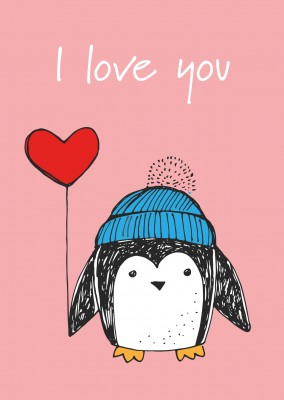 Love postcard with little penguin which carries a balloon
