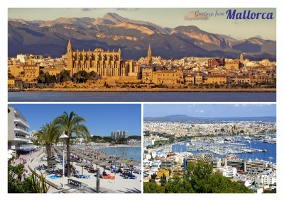 Postcard mallorca collage ocean sun holidays spain