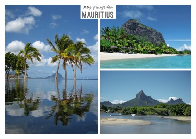 Three photos of Mauritius – ocean, palms, tropical beach