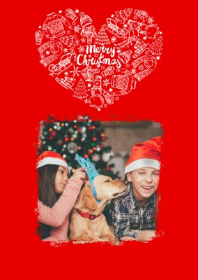 Personalizable christmas card for one photo with a merry Christmas lettering surround by christmas pattern
