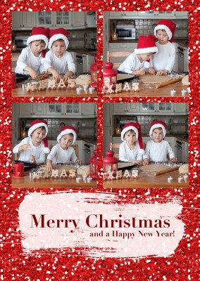 Personalizable christmas greeting card with red glitter photo christmas card