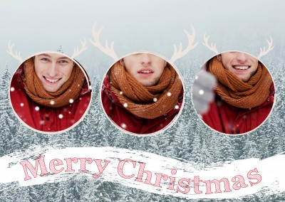 Personalizable greeting card for three pictures as a reindeer in front of snow