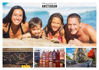 Personalizable greeting card from Amsterdam with three photos showing the canals, doll houses and bikes