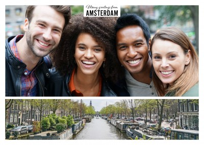 Personalizable greeting card from Amsterdam with a panorama photo
