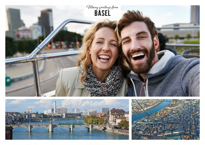 Personalizable greeting card from Basel Switzerland with a panorama photo