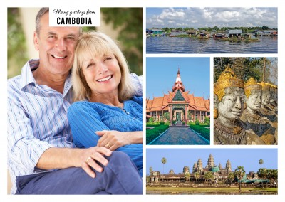 Personalizable greeting card from Cambodia with photos of attractions