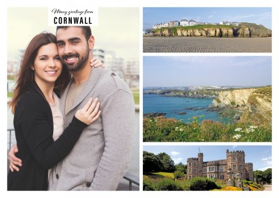 Personalizable greeting card from Cornwall with three photos showing the coastlines and a castle