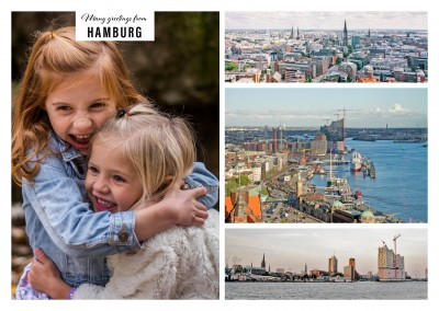 Personalizable greeting card from Hamburg with panoramas