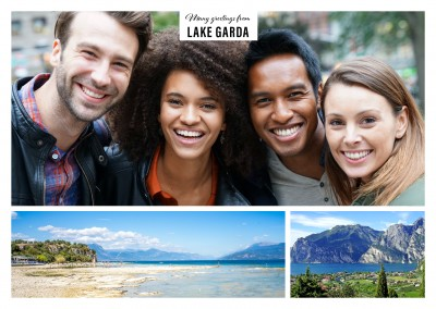 Personalizable greeting card from Lake Garda in Italy with photos of the lake from different perspectives