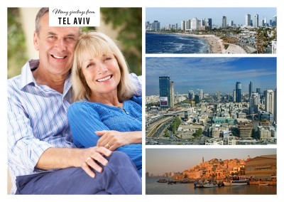 Personalizable greeting card from Tel Aviv with three different panoramas of the city