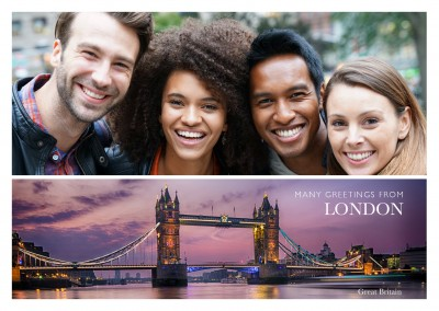 Personalizable greeting card from London with a panorama photo of the skyline
