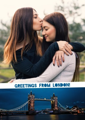 Personalizable greeting card from London with panorama of the Tower Bridge