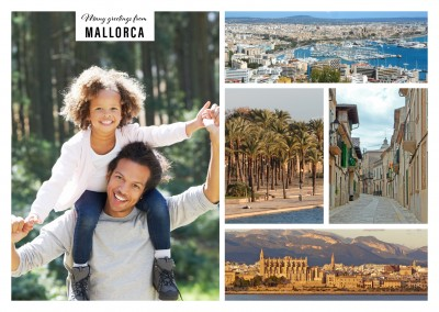 Personalizable greeting card from Mallorca with photos of the landscape and architecture
