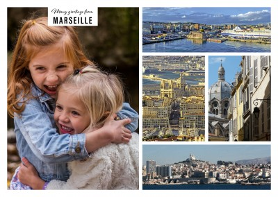 Personalizable greeting card from Marseille in France with photos of the city and landscape