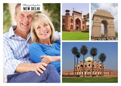 Personalizable greeting card from New Delhi with photos of the attractions on the right side