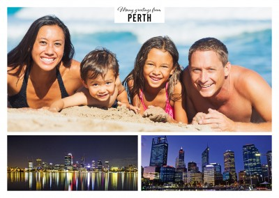 Personalizable greeting card from Perth with two skyline panorama photos by night
