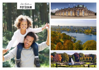 Personalizable greeting card from Potsdam with photos of castles and the city
