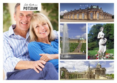 Personalizable greeting card from Potsdam with photos of the Sanssouci Palace