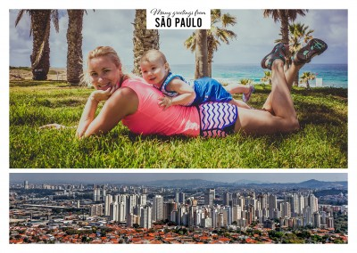 Personalizable greeting card from Sao Paulo in Brazil with panorama of the skyline by night