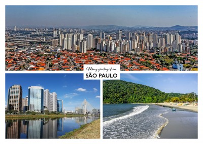 Personalizable greeting card from Sao Paulo in Brazil with photos of cityscape and a beach
