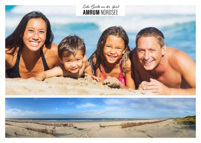 Personalizable greeting card from the northsea island Amrum in Schleswig-Holstein with a panorama photo