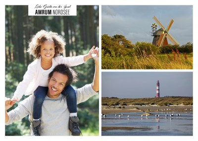 Personalizable greeting card from Amrum at the northsea with photos of a windmill and a beach with a lighthouse
