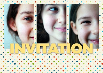 Personalizable invitation postcard with colorful polkadots